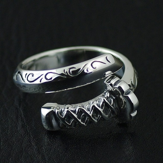 925 Pure Silver Knife Samurai Sword Open Ring