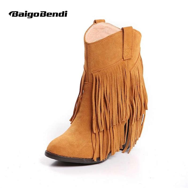 Женская обувь с острым носком в западном стиле Стиль ботильоны дамы корова из замши и кожи, украшенные бахромой Мокасины ковбойские зимние …