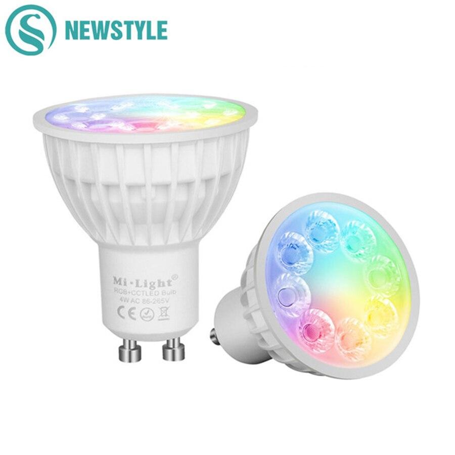 4 W Dimmable 2.4G Sans Fil Milight Led Ampoule GU10 RGB + CCT Led Spotlight Led Smart Lampe D'éclairage AC86-265V