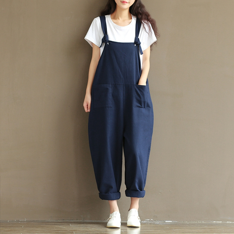 Casual Rompers Womens Jumpsuits Loose Vintage Sleeveless Backless Overalls Jumpsuit S-5XL Plus Size Solid Cotton Linen Paysuits