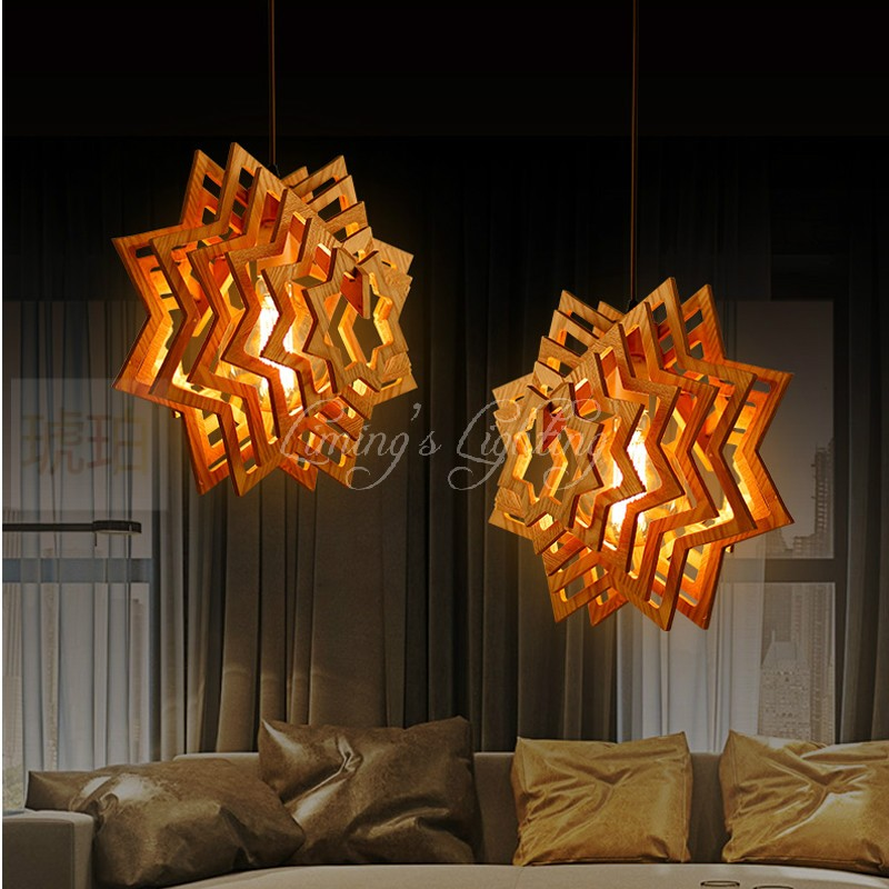 40CM North American country star wood wooden personalized villa restaurant clothing store lighting Pendant light Lamp Lighting