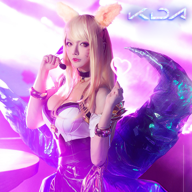 2018 LOL KDA Ahri Cosplay Costume K/DA  Cosplay Pu Sexy Costume Game Ahri Outfit Fullset LOL KDA Group Women Costume Christmas