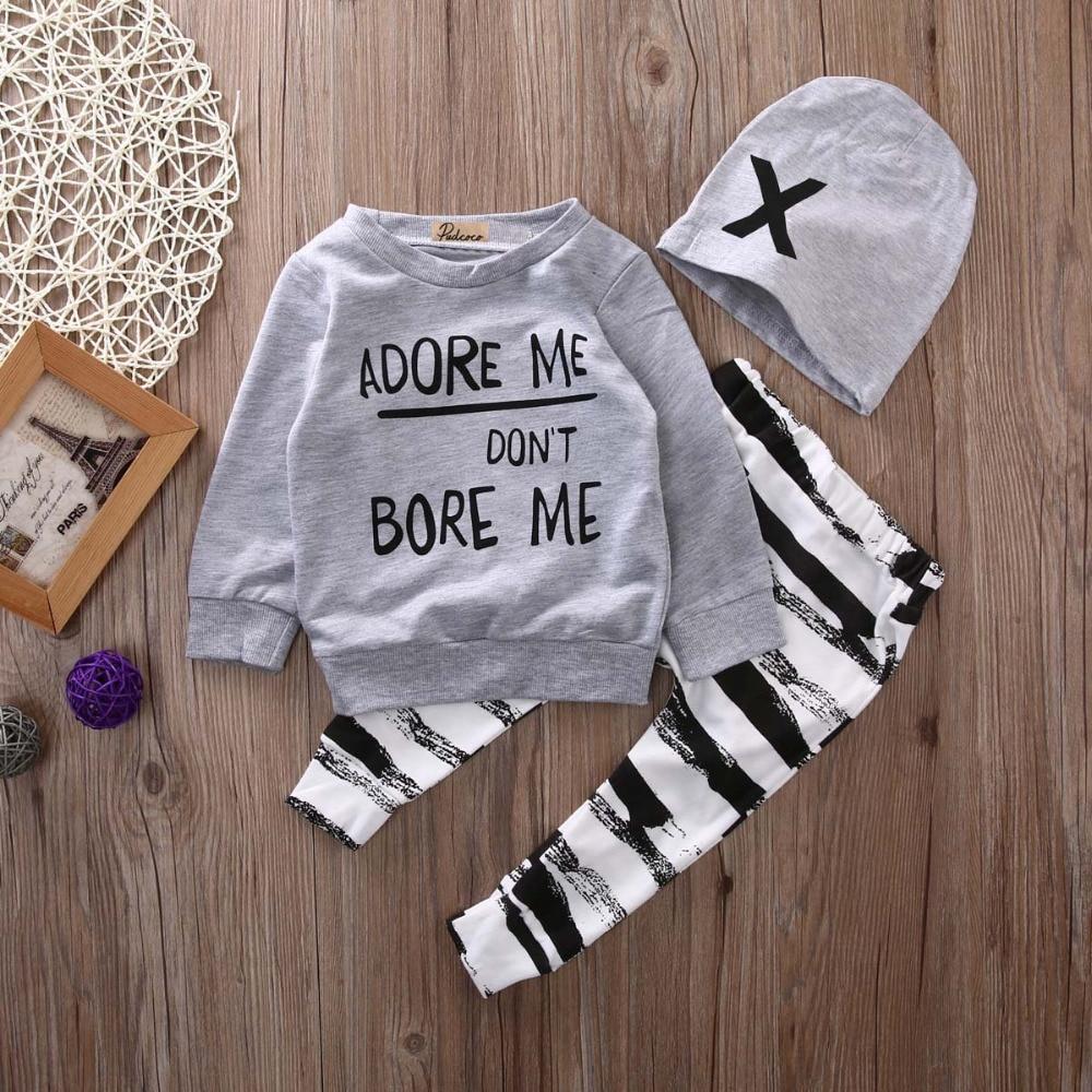 2017 kids boys Autumn clothes baby clothing sets Newborn Baby Girl Boy Long Sleeve T shirt+ zebra Pant Hat 3pcs Outfits Set