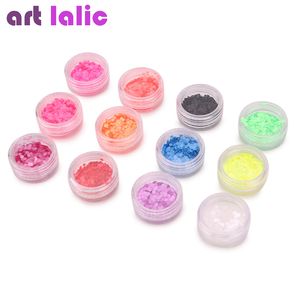 Ultra Thin Candy Fluorescent Nail Art Shapes Sequins UV Gel Acrylic ...