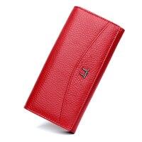 Qianxilu Quality Genuine Leather Wallets For Women Fashion Long Design Inside Zipper High Capacity ID Credit