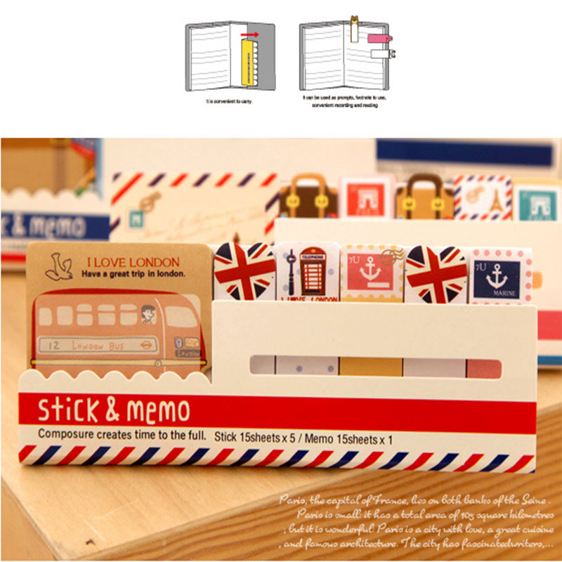2pcs/lot Kawaii British style Memo Pad weekly plan Sticky Notes Post stationery School Supplies Planner Paper Stickers