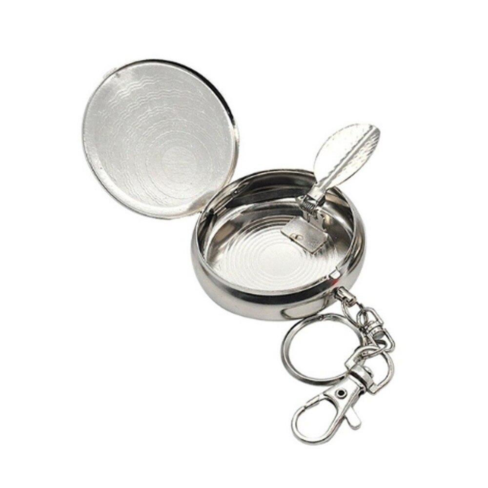 mini Ashtray keychain silver color Bullet Shape Key holder Portable Ashtray