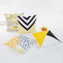 Spring and summer new style Simulation silk satin pillowcase Geometric abstraction Cushion cover Yellow  decorative pillows