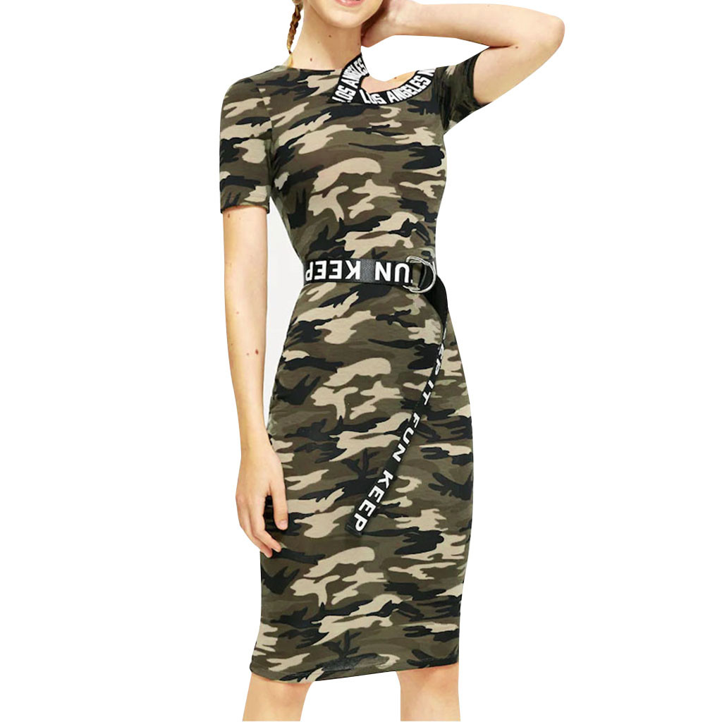 Mini Dress Summer Fashion  Slim Camouflage Army Green Mini Dress Street Hipster Round Neck Short Sleeve Women's Clothing