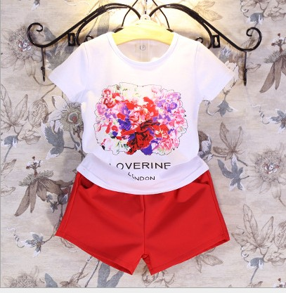 ФОТО 2016 summer new kids clothing set 3pcs flower girls t shirt+pants+belt toddler girls clothes cotton suit 2-7T red ropa mujer