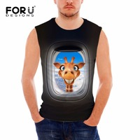 FORUDESIGNS Funny Black 3D Animal Giraffe Pattern Sexy Tank Tops Mens Gym Clothing Casual Cotton Vests