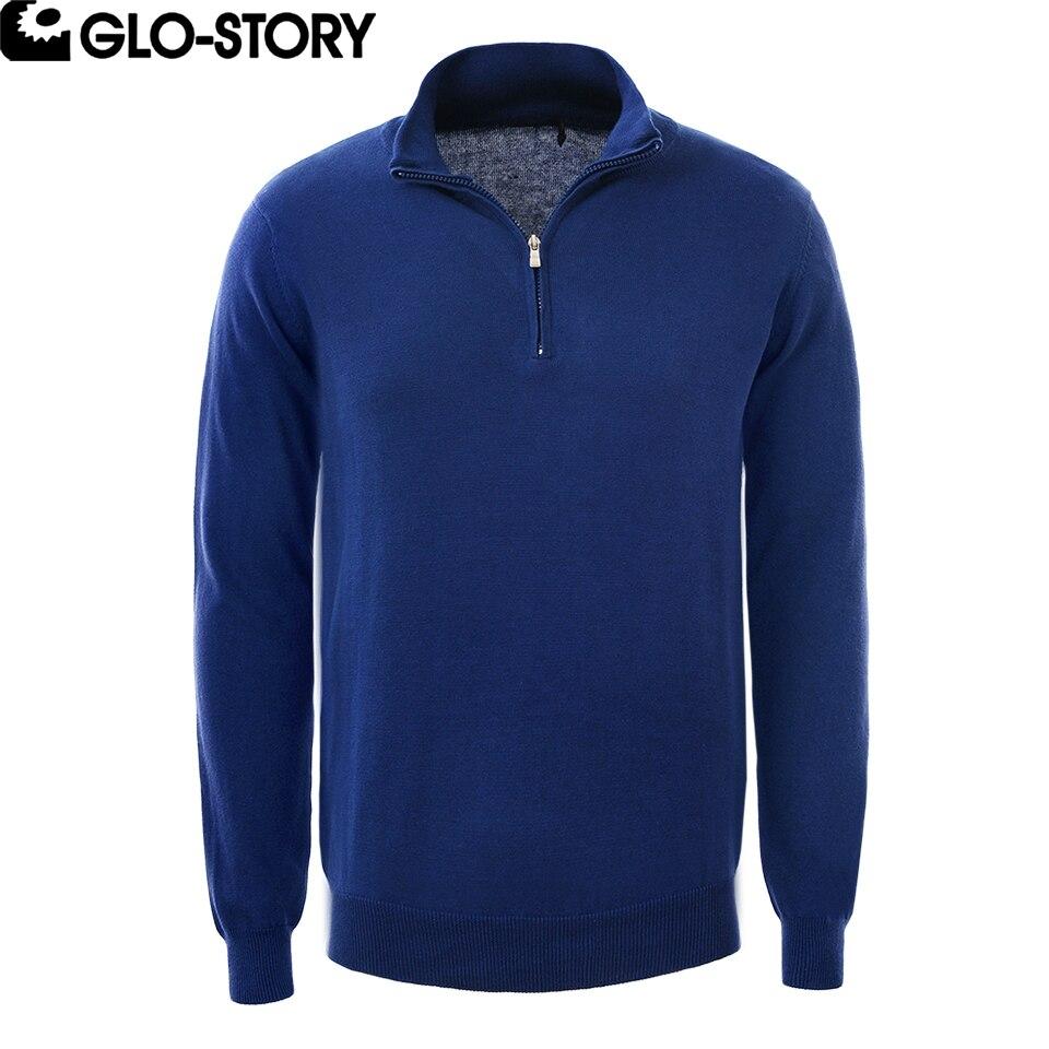 GLO-STORY Для мужчин на молнии планка джемпер свитера Для мужчин с длинным рукавом хлопковые пуловеры свитер MMY-3574