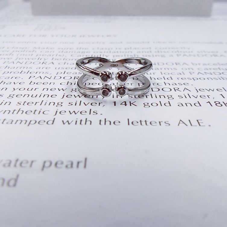 Girls Silver Ring Charm Trendy Cubic Zirconia Double intersection Rings For Women CR061
