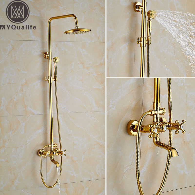 Современные золото ванной душа Осадки латунь 8 Насадки для душа душ ванна смеситель двойной ручкой смеситель латуни ручной