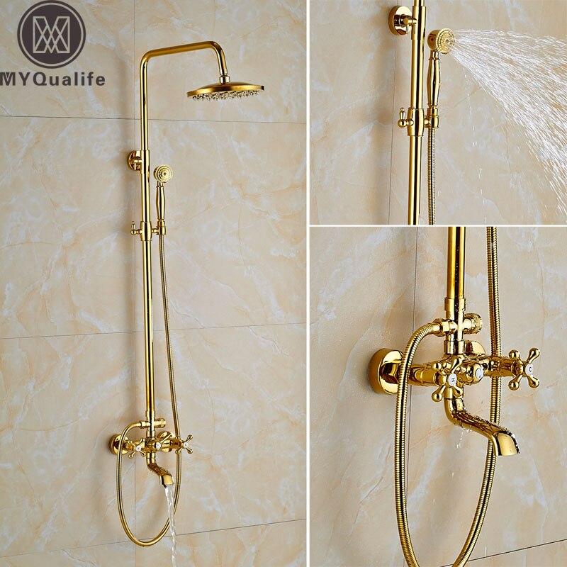 Modern Gold Bathtub Shower Faucet Rainfall Brass 8  Shower Head Shower Bath Mixer Tap Dual Handle Shower Mixer Brass Handshower wall mount shower faucet rainfall 8 brass shower head bathroom shower mixer system dual handle chrome shower mixer tap