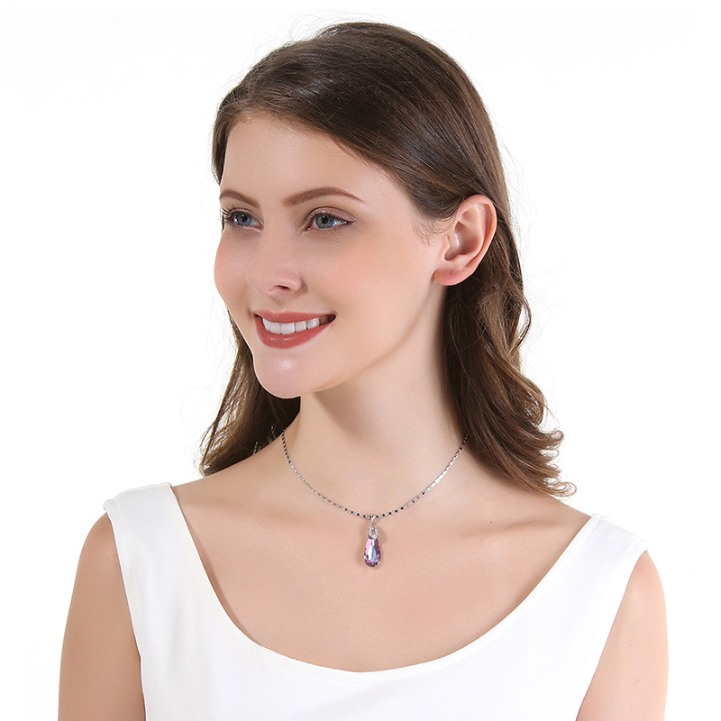 Image 2 - 2019 Summer Fine Jewelry Necklace for Women Water Drop Shaped Swarovski Crystal Pendant Necklace Birthday's Gift Collares-in Necklaces from Jewelry & Accessories