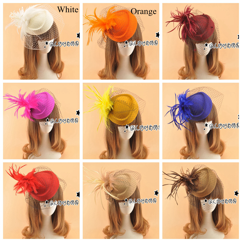 09ca28c3 Vintage Bridal Hats UK Berets Feather Flowers Wedding Hat With Veils Wool  Blended Bridal Hair Accessories Head Decorations-in Bridal Headwear from  Weddings ...
