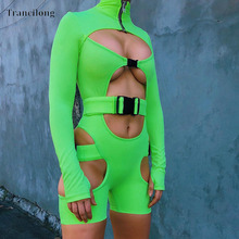 Trancilong Summer Crazy Cut Buckle Openwork Jumpsuit Sexy Stretch Long-sleeved Zipper Tight Short Wholesale