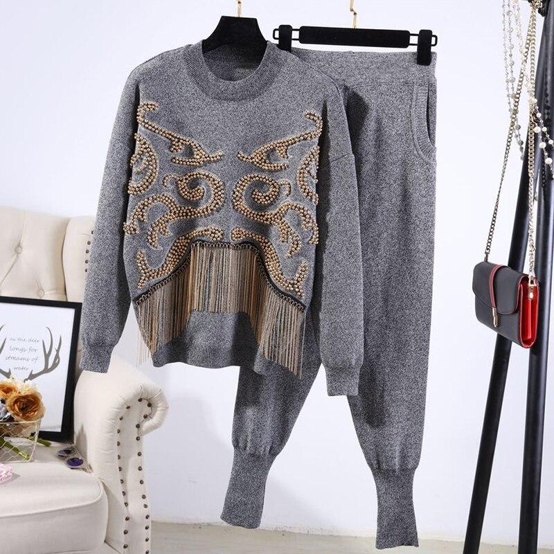 Lourde En 181217tb01 Femmes Pantalon Chandail Manches Perlée À Pantalons Nouveau Hiver Costume Casual Tricot Longues De Gland w7awt4q