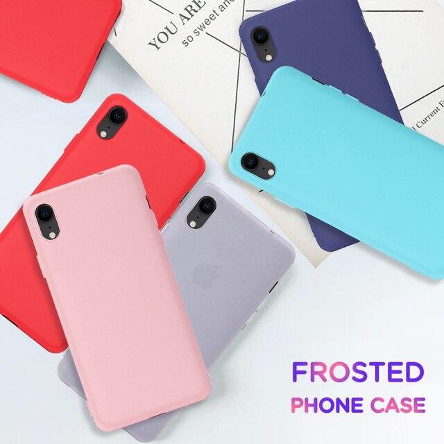 Bonbon mat étui pour iphone en polyuréthane XS Max Xs Xr X 8 7 6 6S Plus Silicone couverture téléphone étui pour iphone XS Max Xs Xr X 8 7 6 6S 10