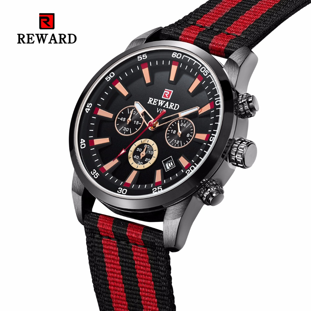 REWARD Men's Watch Fashion Chronograph Sport Watch Men Watch Top Brand Luxury Nylon Strap Waterproof Watches Reloj Hombre Clock