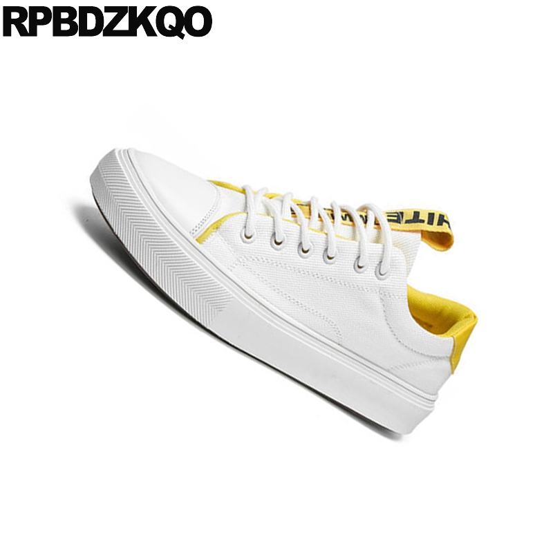 Sneakers New 2018 Lace Up Rubber Comfort Summer Breathable Skate Trainers White China Designer Men Canvas Shoes Casual High Top 2