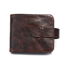 Handmade Genuine Leather Men Wallets Cowhide Male Purse Wallet Short Designer Vintage Credit Card Holders with Coin Pocket B519