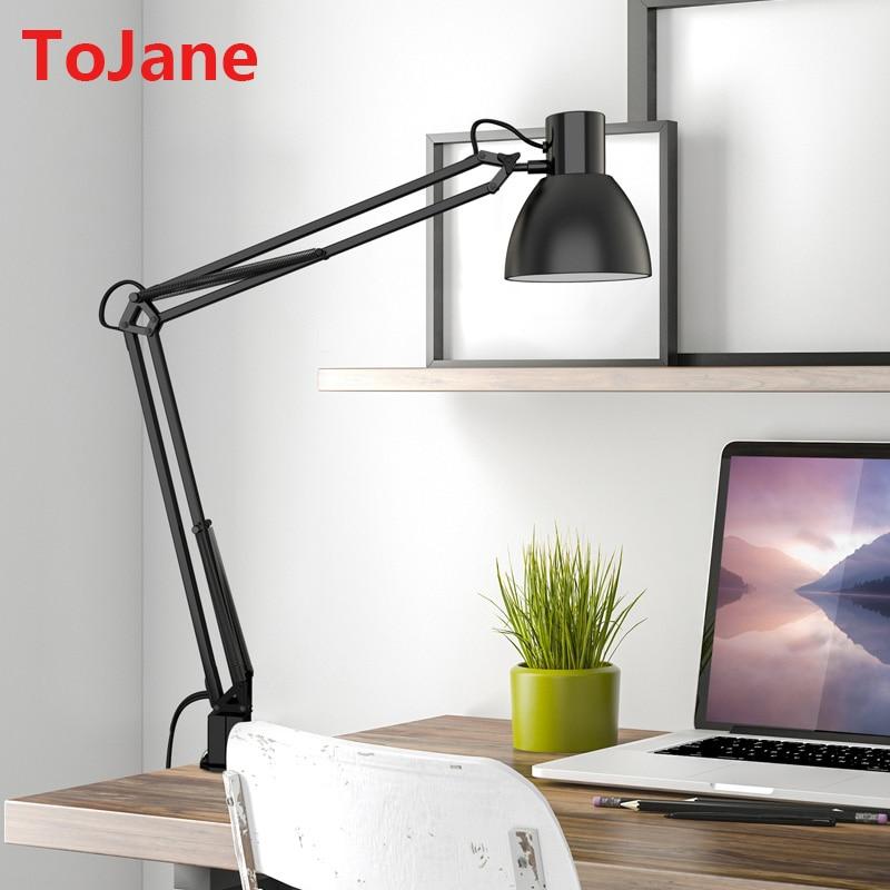 Tojane Tg801 S Clip Desk Lamp Flexible Long Swing Arm Led