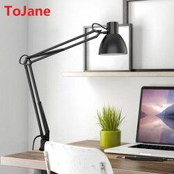 ToJane TG801-S Clip Desk Lamp Flexible Long Swing Arm Led Desk Lamp 6W Eye-Care Led Table Lamp Multi-Joint Led Reading Light
