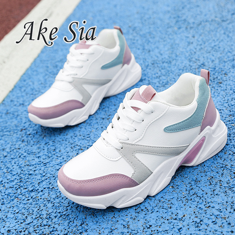 Small white shoes female 2019 spring and autumn new fashion color matching board shoes thick bottom casual ladies single shoesSmall white shoes female 2019 spring and autumn new fashion color matching board shoes thick bottom casual ladies single shoes