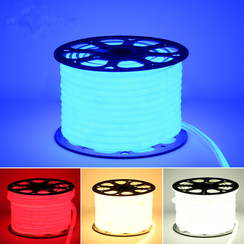 220v Led Neon Light Waterproof Ip65 Strip Rope 2835 Outdoor Tape Ribbon With Power Plug Cool White Red Green Blue Pink Rgb