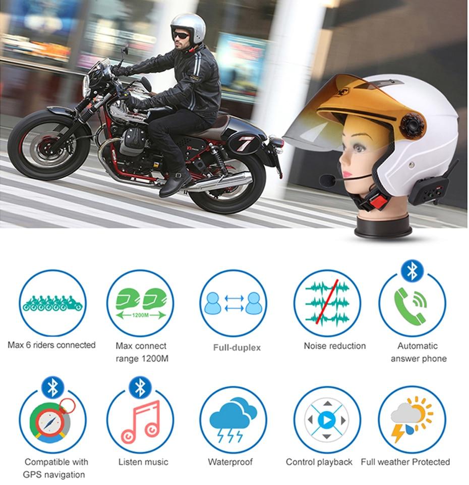 2 Piezas Fodsports V6 Plus Auriculares Intercomunicador Moto Gama Comunicaci/ón Intercom 1200m Intercomunicador Casco Moto con pantalla OLED Impermeabilidad hasta 6 Jinetes para Radio FM