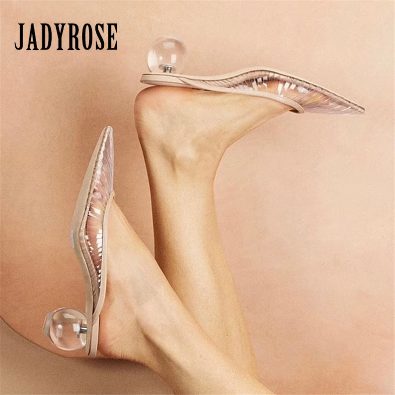 Jady Rose 2019 New Transparent Heel Women Pumps Pointed Toe Clear Heels Hollow Out Ladies Mules