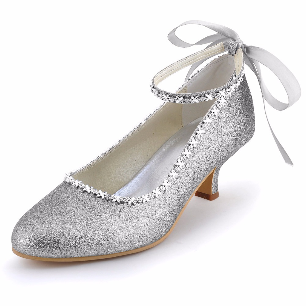 Shoes Woman EP31010 Silver Size 7 10 Low Heel Bridal