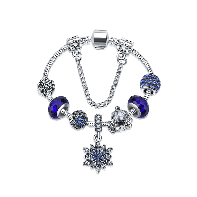 2018 Womens Bracelets Glass Crystal Snowflake Beads European Fashion Jewelry Romantion Blue Rhinestone Chamrs Bracelet 16-22cm ...