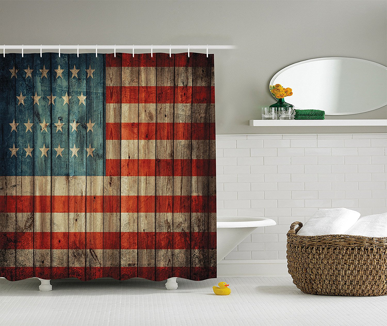 Awesome American USA Flag Decor By Ambesonne, USA Flag Patriotism Painted Old  Wooden Looking Background Design Bathroom Shower Curtain