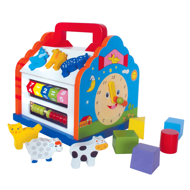 Деревянный Геометрия Формы Соответствия Обучения Дома Детские Игрушки Для Детей 1-3 лет Детские Развивающие Игрушки Модель Здания комплект