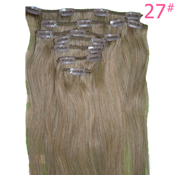 metal Clip Remi   in Hair Extensions 115 Grams 8 Pieces/set Straight 22 Blonde Brown Natural Hair Clip ins Free Shipping pretty short straight blonde 8 synthetic hair wigs free shipping