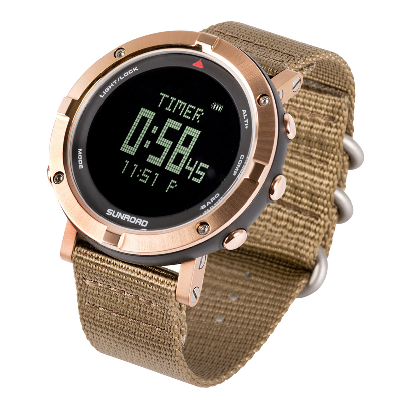 SUNROAD Digital Heart Rate Waterproof Altimter Smart Watch with Barometer Compass Swimming Hiking Wristwatches Relogio