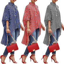 Striped Chiffon Blouse Women Summer Tops Turn Down Collar Button up Shirts Half Sleeve Short Front Long Back Asymmetrical Shirt