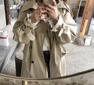 Image 2 - womens windbreaker Double Breasted Vintage Trench Coat For Ladies Long Coat Outerwear jaqueta feminina Lapel Coat  With Belt