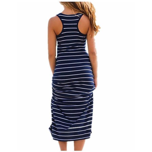 Плюс Размеры женские макси длинное платье Лето Стиль стильная женская обувь пляжные жилет платье в полоску Бохо длинное Повседневное платье без рукавов Vestidos M0095