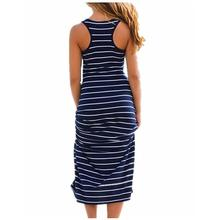 Plus Size Women Maxi Long Dress Summer Style Sexy Ladies Beach Vest Dress Striped Boho Long Sleeveless Casual Vestidos M0095