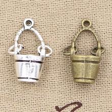12pcs Charms Movable Bucket Pail 24x12x7mm Handmade Pendant Making fit,Vintage Tibetan Silver color,DIY For Bracelet Necklace