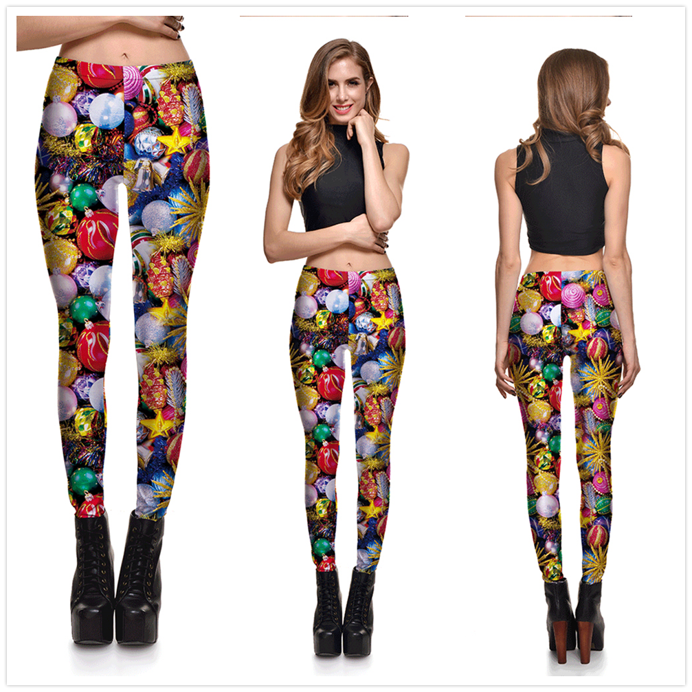 8 Great Styles, Women Sexy Merry Christmas leggings, Gradient Lanterns, Color Fantasy Printed 15