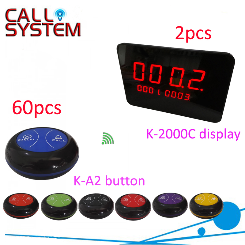 2 receivers 60 buzzers Wireless restaurant buzzer caller table call/calling button waiter pager system restaurant call bell pager system 4pcs k 300plus wrist watch receiver and 20pcs table buzzer button with single key
