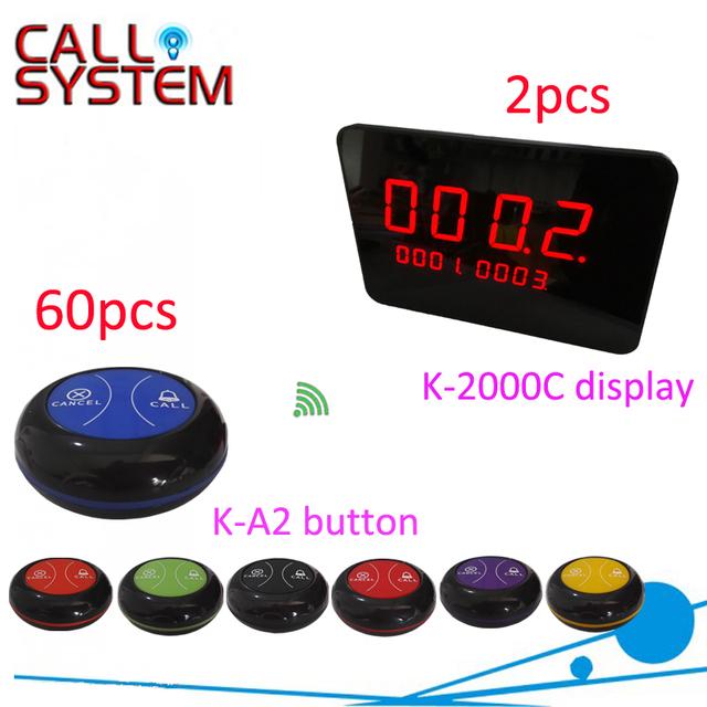 2 receptores 60 zumbadores mesa de restaurante timbre Inalámbrico de llamadas call/sistema de botón de llamada de buscapersonas camarero