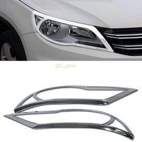 Chrome Car Tail 2PCS Chrome Car Headlight Front Light Lamp Cover Trim For Volkswagen VW Tiguan 2009 2010 2011 2012