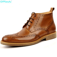 New Arrival Men Ankle Boots Shoes High Quality Fashion Chelsea Retro Brogue Genuine Leather Dress