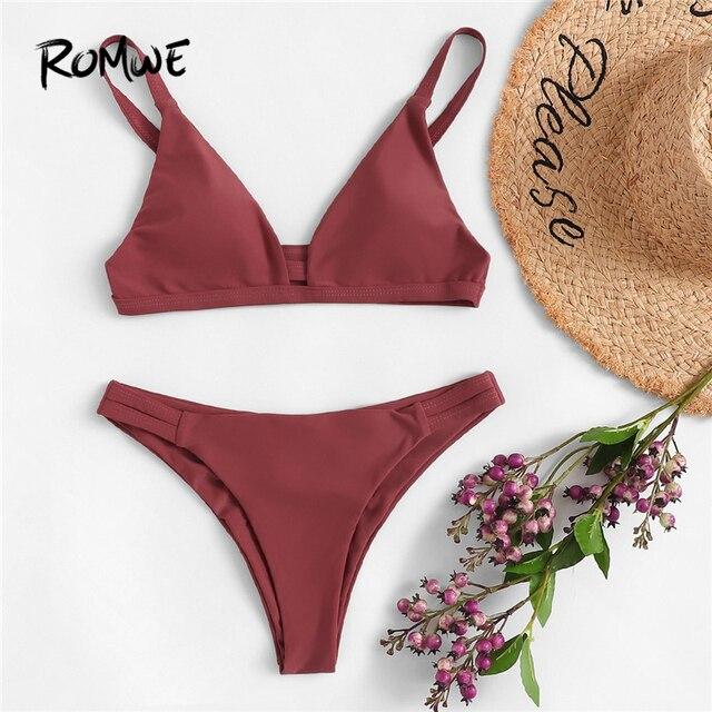 Romwe Sport ржавчина, однотонный топ с v-образным вырезом, бикини с рюшами, набор, пляжный отдых, с глубоким вырезом, треугольник, женские летние ку...